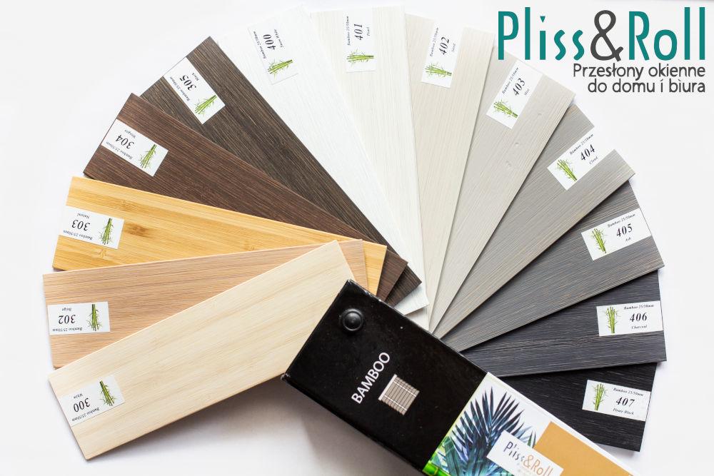 Kolorystyka żaluzji bambusowych 25 i 50 mm