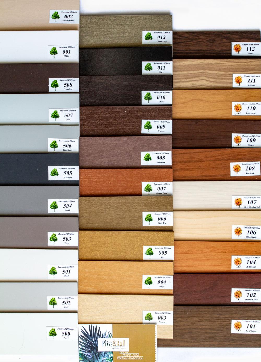 Kolorystyka żaluzji drewnianych 25 i 50 mm